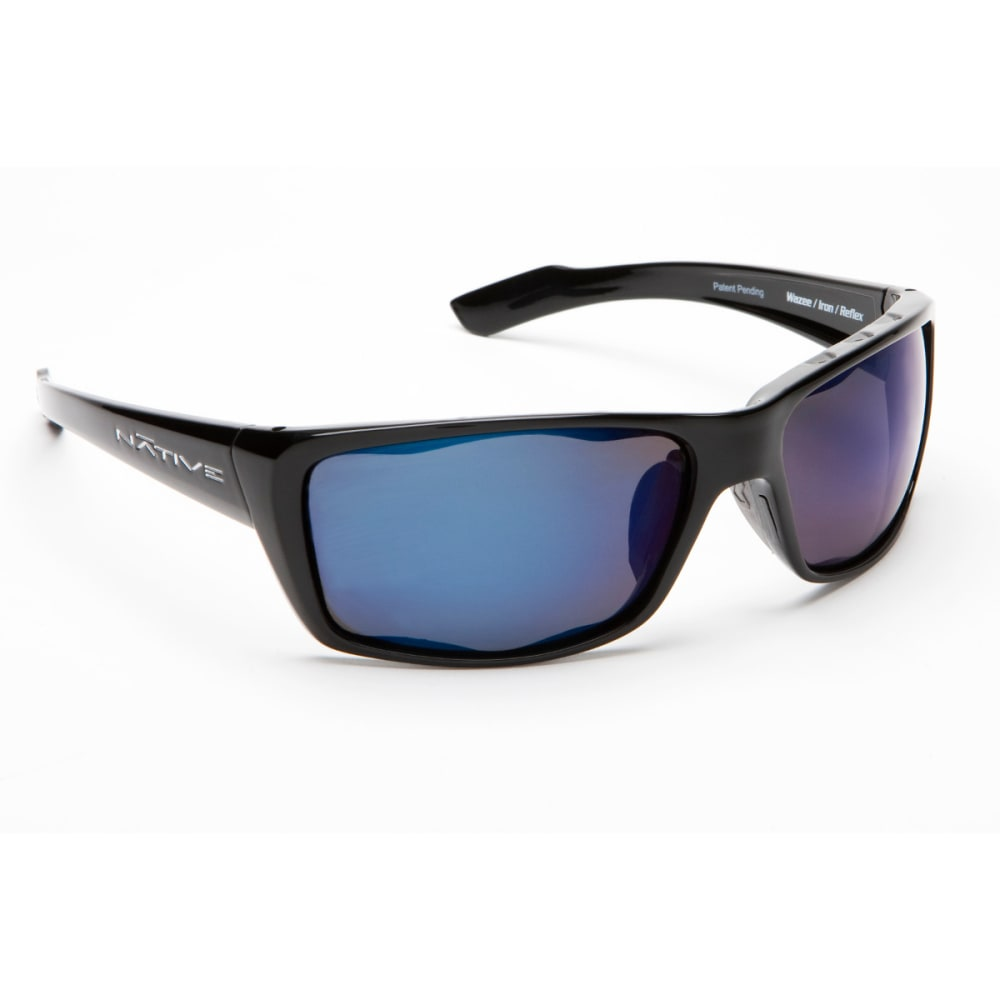 NATIVE EYEWEAR Wazee Sunglasses, Blue Reflex/Gloss Black - GLOSS BLACK