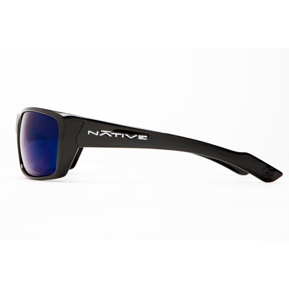 NATIVE EYEWEAR Wazee Sunglasses, Blue Reflex/Gloss Black - GLOSS BLACK