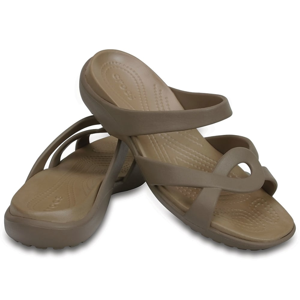 CROCS Women's Meleen Twist Sandals, Mushroom/Gold - MUSHROOM/GOLD