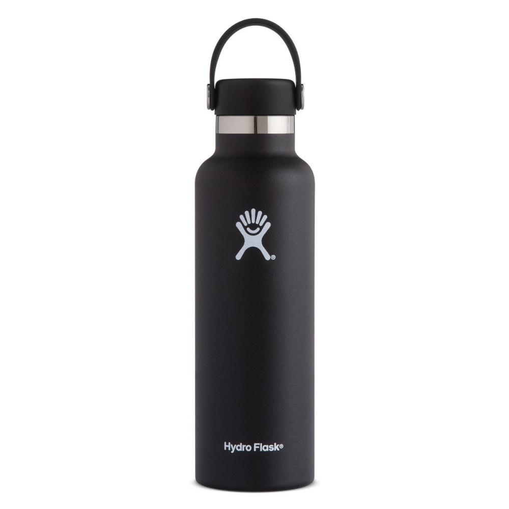 HYDRO FLASK 21 oz. Standard Mouth Water Bottle with Flex Cap - BLACK S21SX001