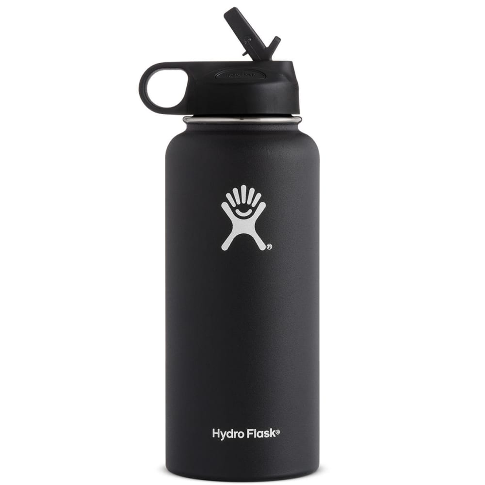 HYDRO FLASK 32 oz. Wide Mouth Water Bottle with Straw Lid - BLACK W32SW001