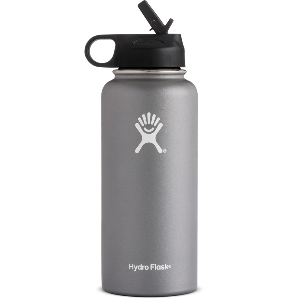HYDRO FLASK 32 oz. Wide Mouth Water Bottle with Straw Lid - GRAPHITE W32SW050