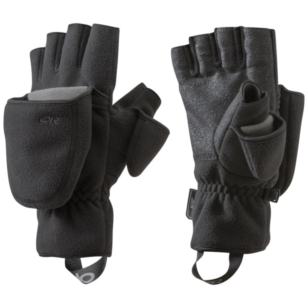 OUTDOOR RESEARCH Gripper Convertible Gloves, Black - BLACK