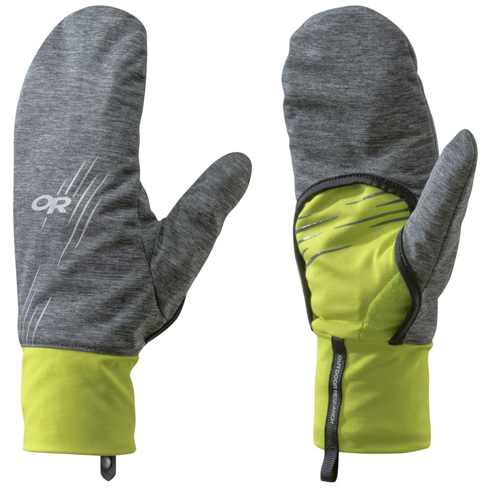 OUTDOOR RESEARCH Overdrive Convertible Gloves - CHARCOAL/LEMONGRASS