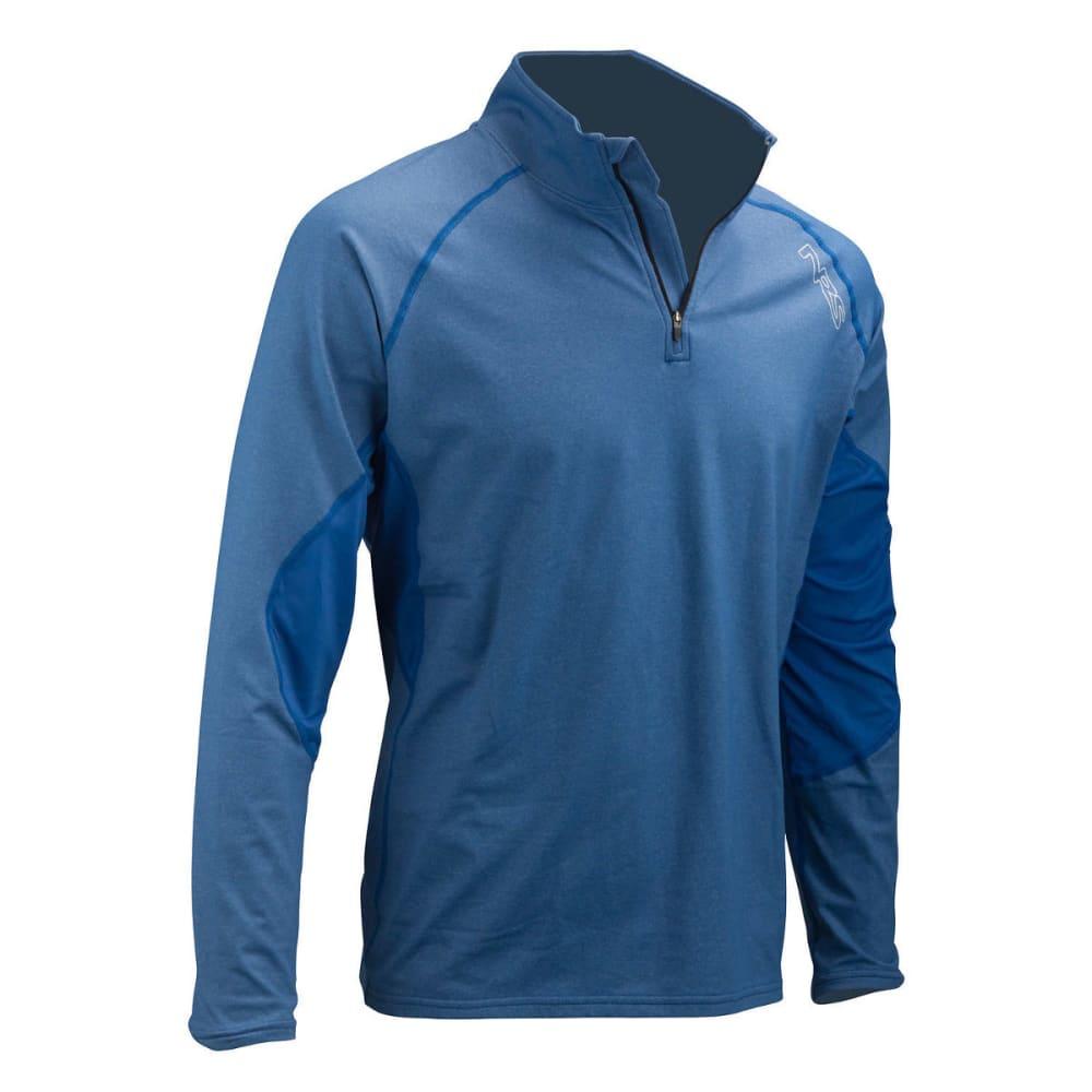 NRS Men's H2Core Lightweight Zip-Neck Shirt - NAUTICAL BLUE HEATHE
