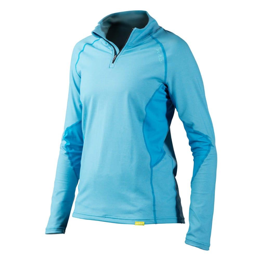 NRS Women's H2Core Lightweight Zip-Neck Shirt - AZURE BLUE HEATHER