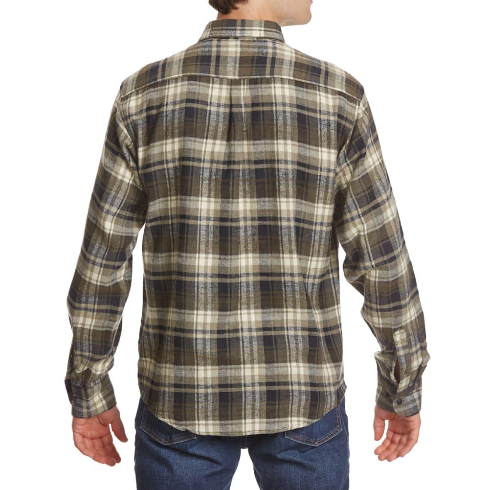 NORTH HUDSON Men's Flannel Long-Sleeve Shirt - 611-BLK/GRN