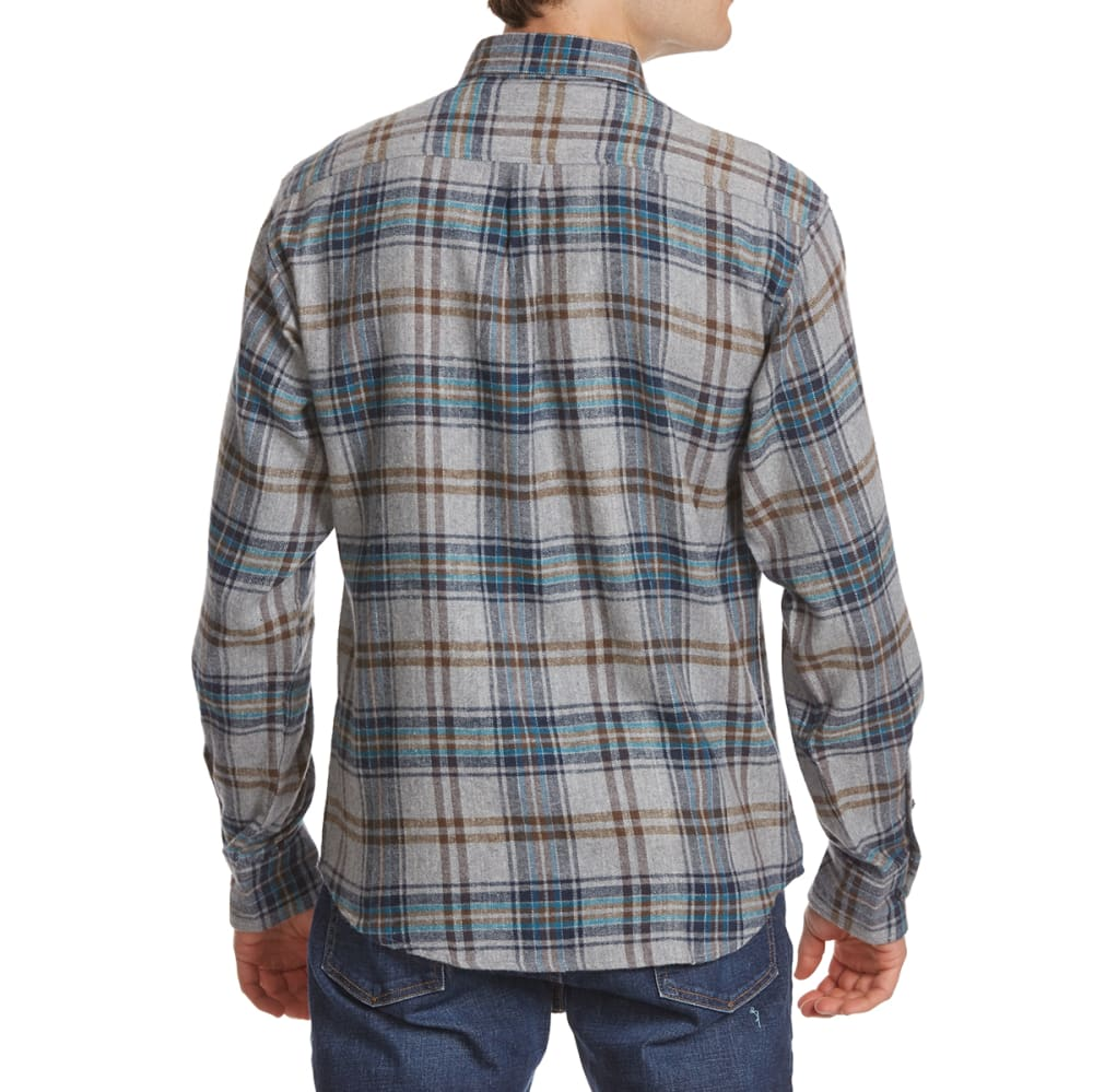 NORTH HUDSON Men's Flannel Long-Sleeve Shirt - 615-NVY/GRY