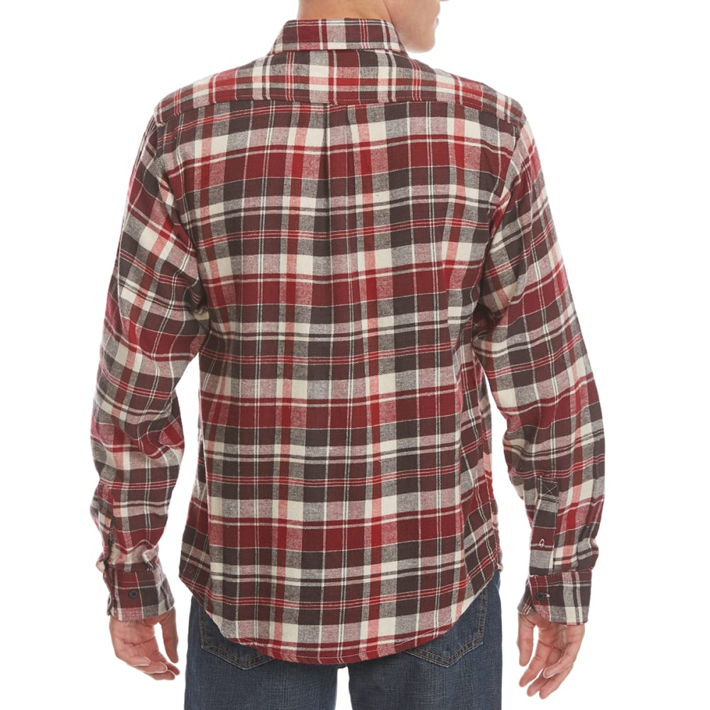 NORTH HUDSON Men's Flannel Long-Sleeve Shirt - 608-RED/WHT