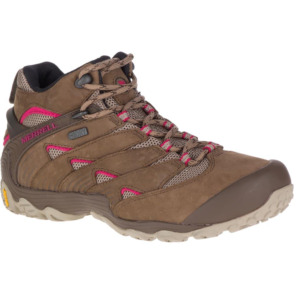 MERRELL Women's Chameleon 7 Mid Waterproof Hiking Boots, Merrell Stone - MERRELL STONE