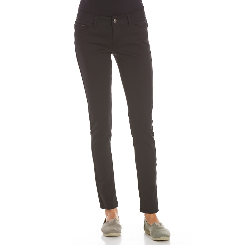 AMBIANCE APPAREL Juniors' 5-Pocket Ponte Pants - BLACK