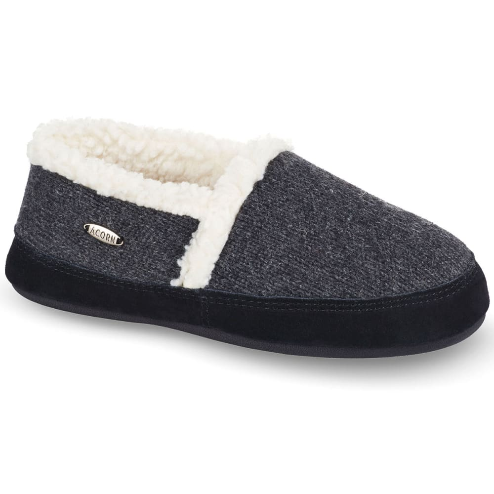 ACORN Women's Moc Ragg Slippers, Dark Charcoal Heather Ragg Wool - DARK CHARCOAL