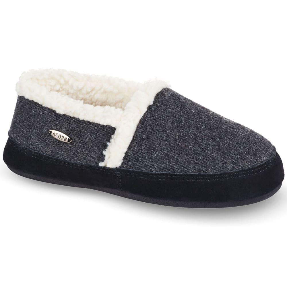 Image of Acorn Women's Moc Ragg Slippers, Dark Charcoal Heather Ragg Wool - Size S