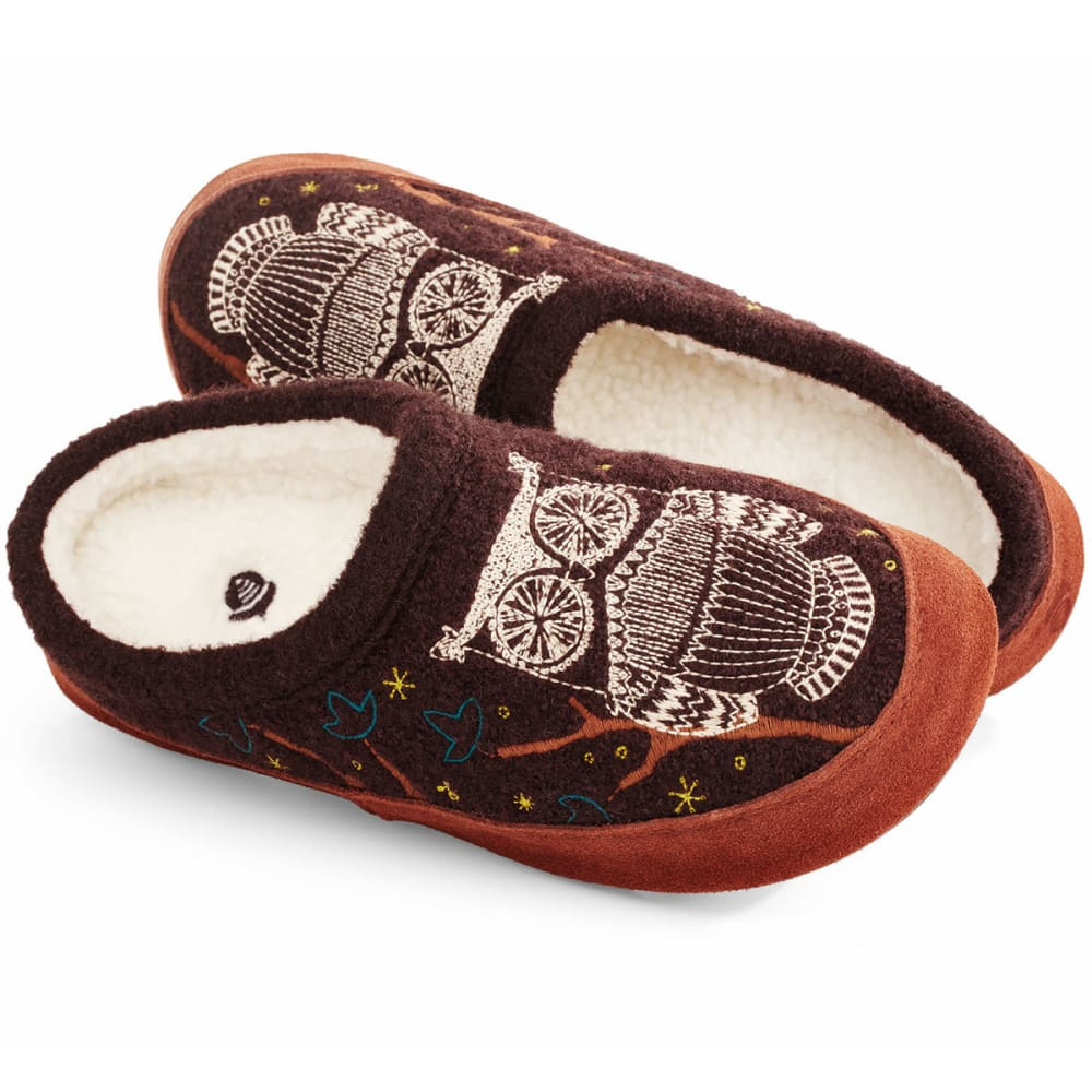Image of Acorn Women's Boiled Wool Forest Mule Slippers, Chocolate Owl - Size S