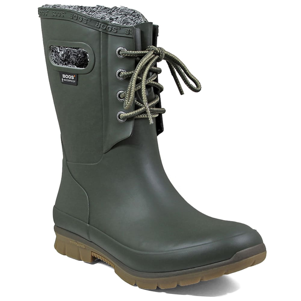 BOGS Women's Amanda Plush Waterproof Boots, Dark Green - DARK GREEN