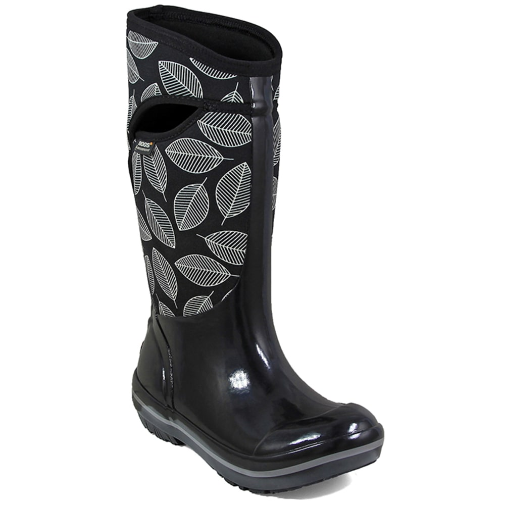 BOGS Women's Plimsoll Leafy Tall Waterproof Winter Boots, Black Multi - BLACK
