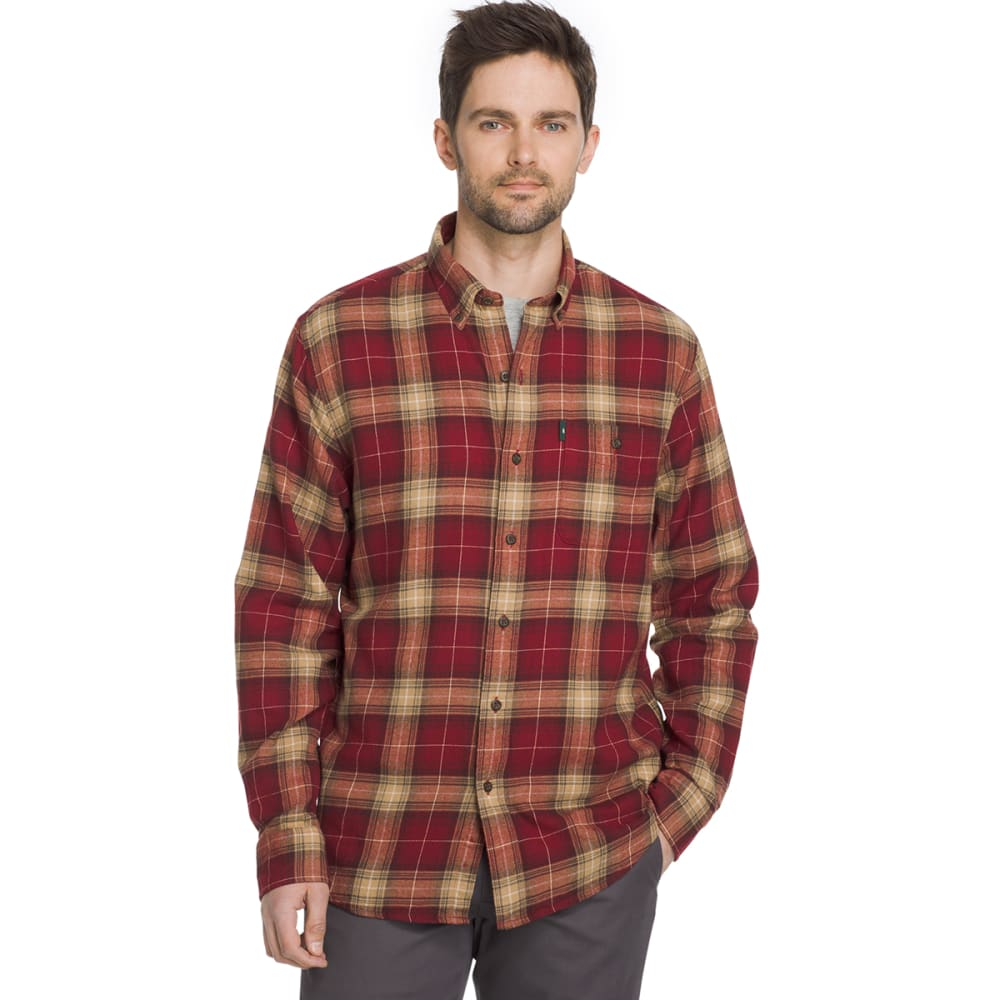 G.H. BASS & CO. Men's Fireside Flannel Long-Sleeve Shirt - SUNDRIED TOMATO-641