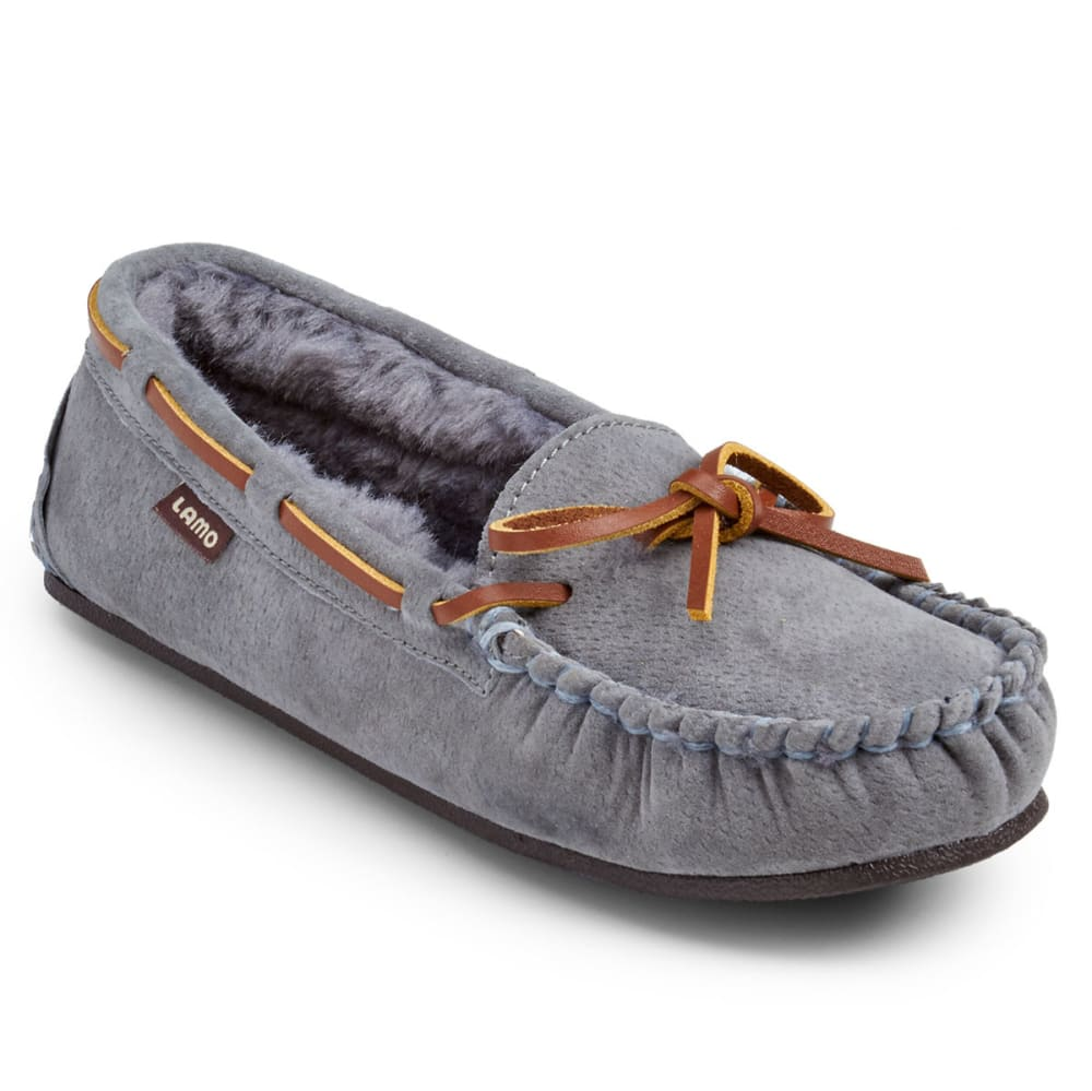 LAMO Big Girls' Kayla Moc Slippers, Charcoal - CHARCOAL