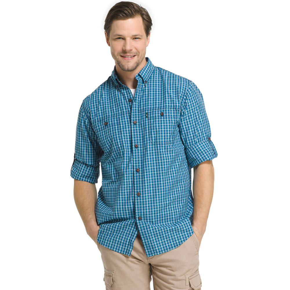 G.H. BASS & CO. Men's Plaid Explorer Sportsman Long-Sleeve Shirt - BLUE SAPPHIRE-429