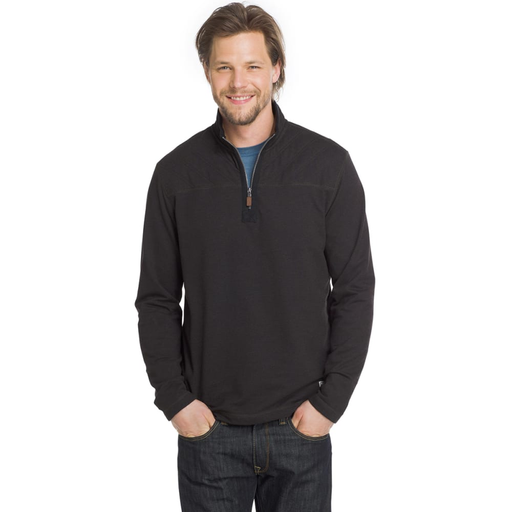 G.H. BASS & CO. Men's Quarter-Zip Fleece Pullover - BLK HTR-027