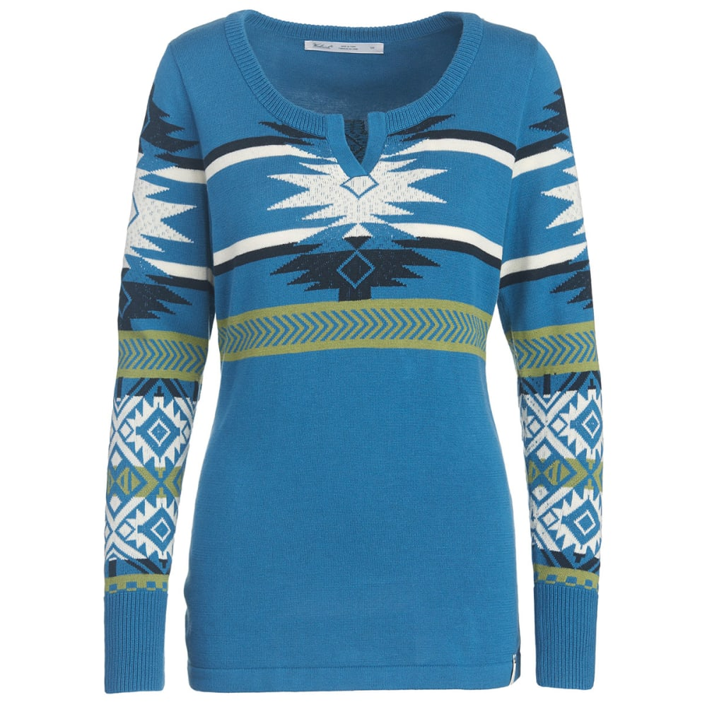 WOOLRICH Women's Avalanche Split Neck Tunic Sweater - FRENCH BLUE MULTI