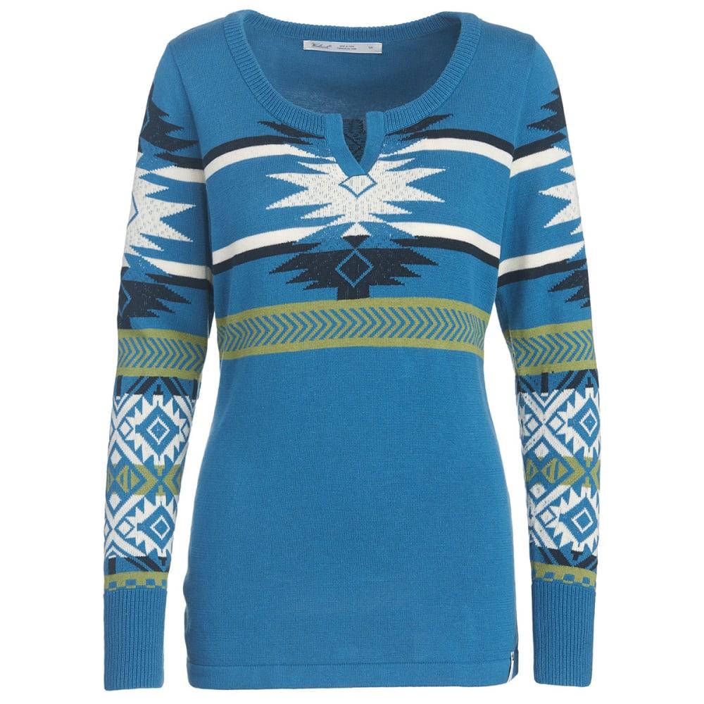 WOOLRICH Women's Avalanche Split Neck Tunic Sweater - FRENCH BLUE MULTI