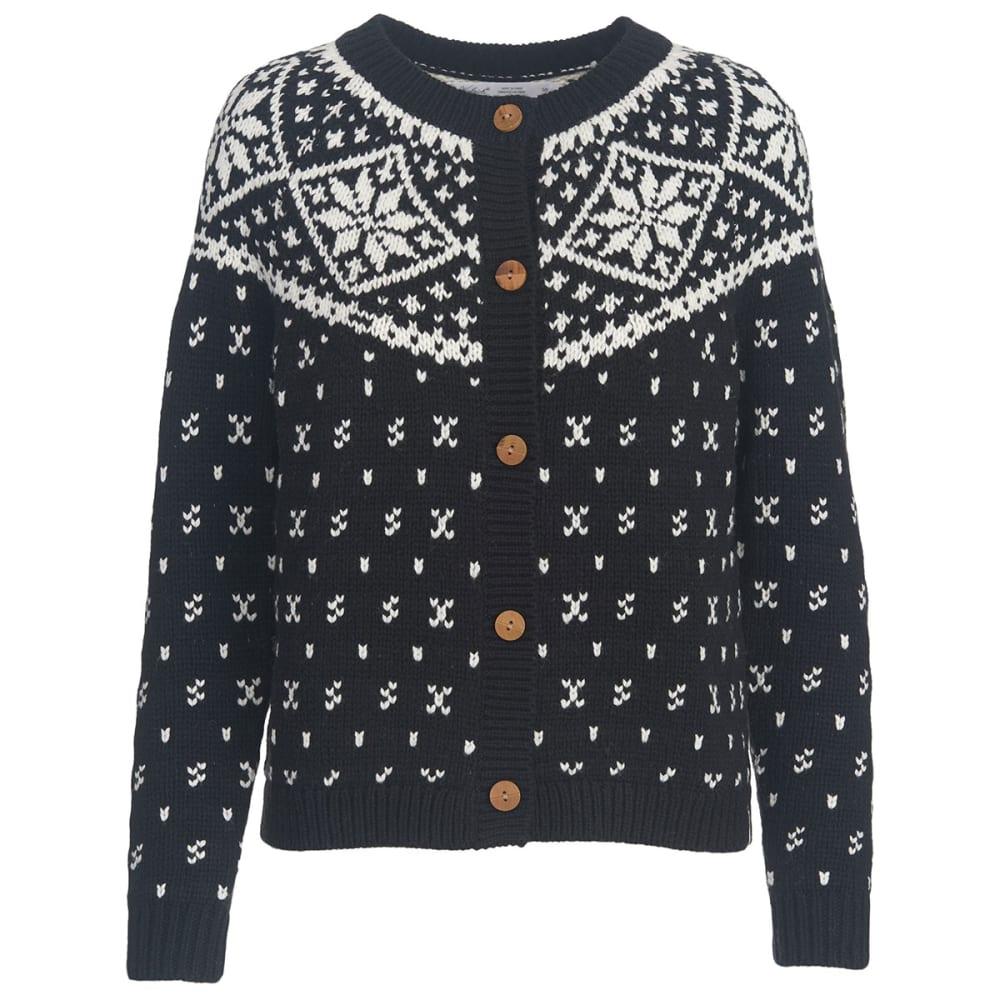 WOOLRICH Women's Snowfall Valley Snowflake Cardigan Sweater - BLACK