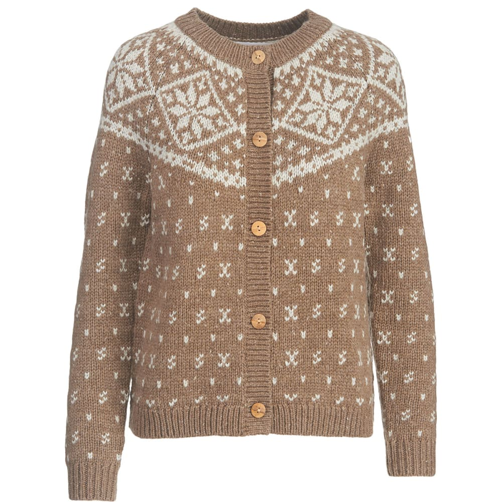WOOLRICH Women's Snowfall Valley Snowflake Cardigan Sweater - CANYON HEATHER
