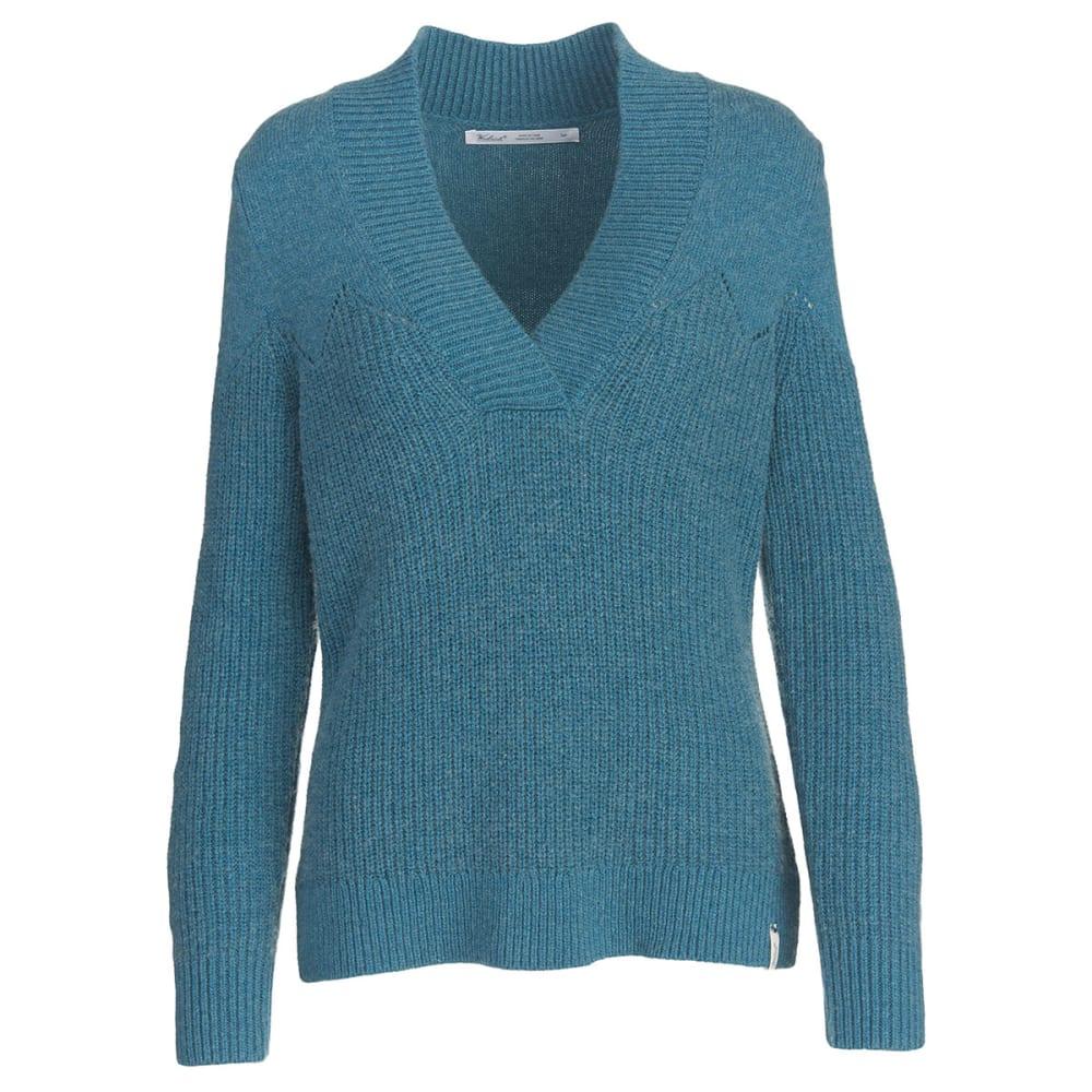 WOOLRICH Women's Maple Way V-Neck Sweater - OCEAN BLUE HEATHER