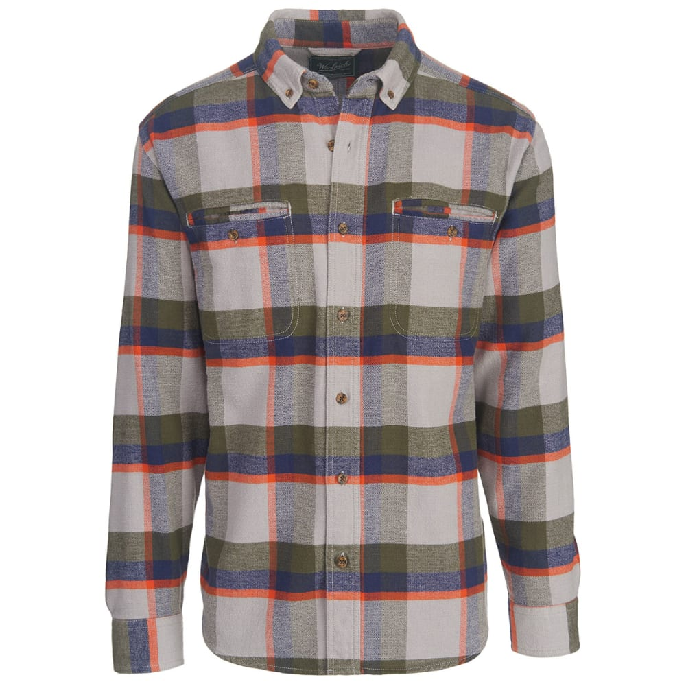 WOOLRICH Men's Oxbow Pass Plaid Flannel Shirt - GEYSER HERRINGBONE