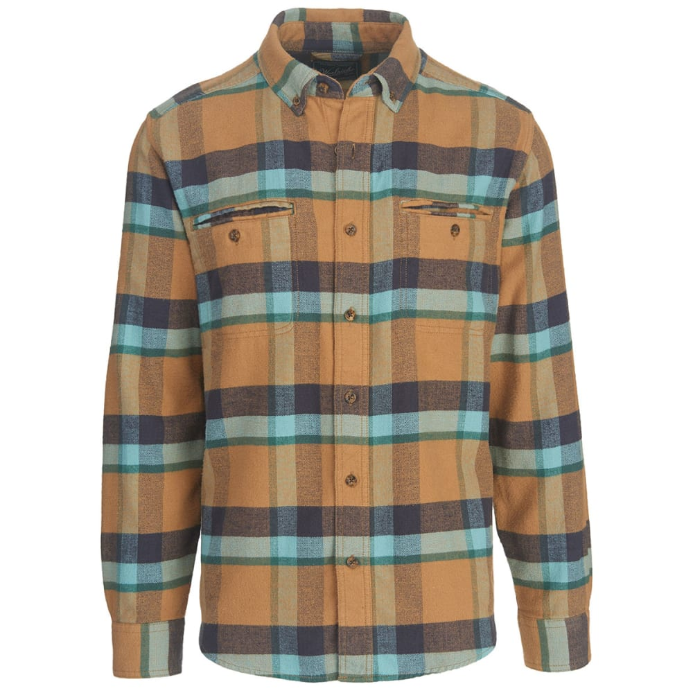 WOOLRICH Men's Oxbow Pass Plaid Flannel Shirt - WHEAT HERRINGBONE