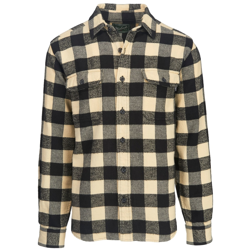 WOOLRICH Men's Oxbow Bend Plaid Flannel Shirt, Classic Fit - BLACK-WHITE