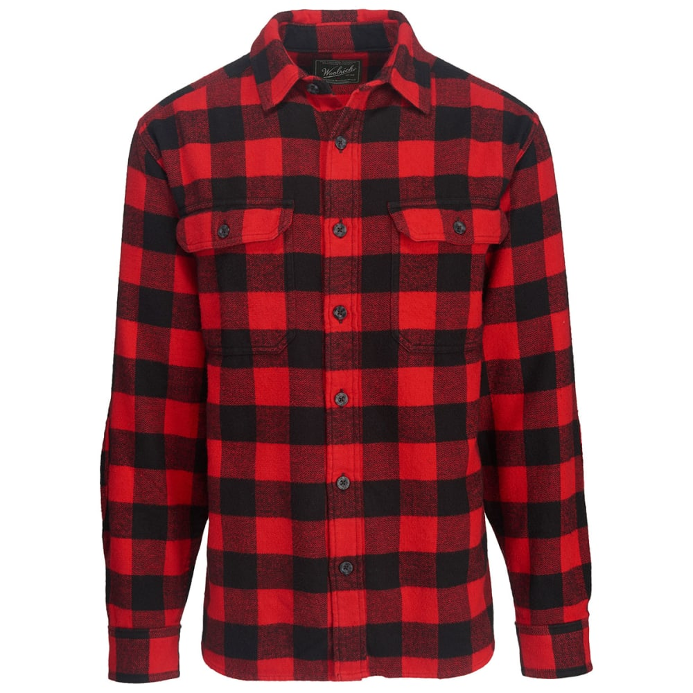 WOOLRICH Men's Oxbow Bend Plaid Flannel Shirt - BLACK/RED