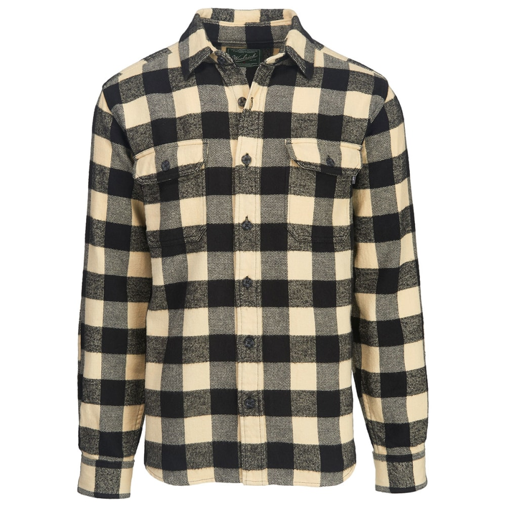 WOOLRICH Men's Oxbow Bend Plaid Flannel Shirt, Modern Fit - BLACK-WHITE