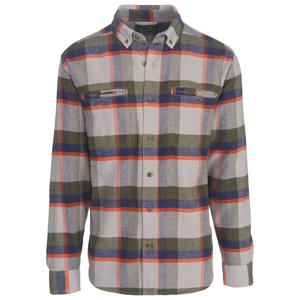 WOOLRICH Men's Oxbow Pass Plaid Flannel Shirt - GEYSER HERRINGBONE