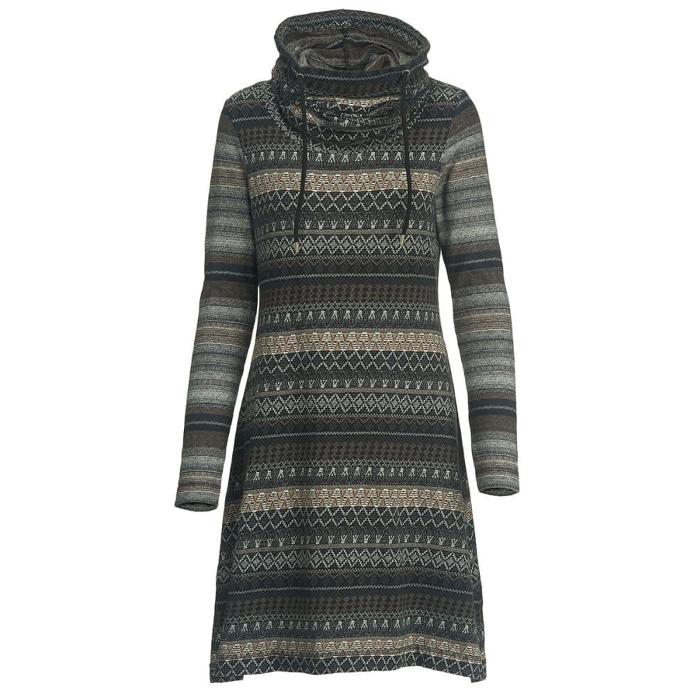 WOOLRICH Women's Mile Run Hooded Cowl Dress - BLACK