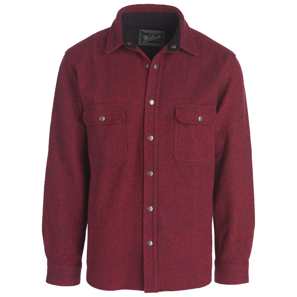 Woolrich men 39 s alaskan washable wool shirt eastern for Mens red wool shirt