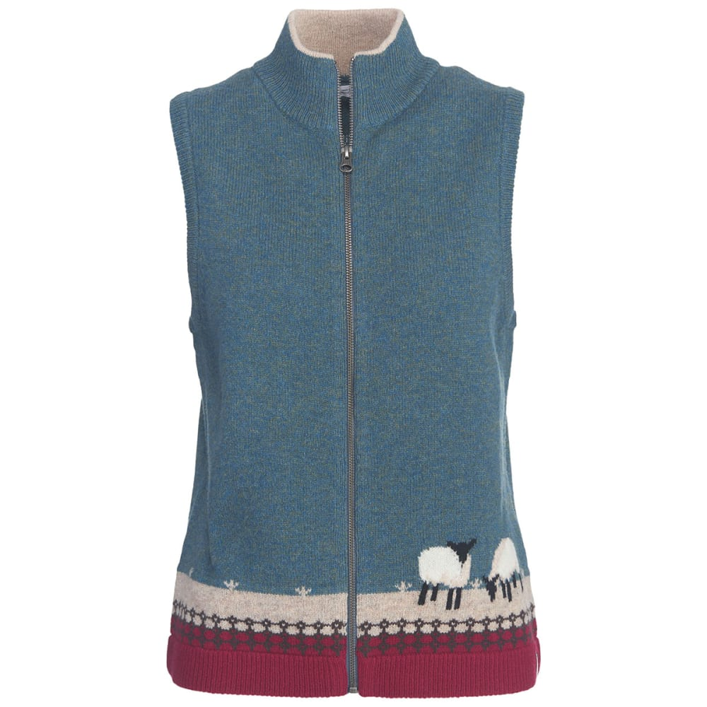 WOOLRICH Women's Grazing Sheep Lambs Wool Vest - OCEAN BLUE