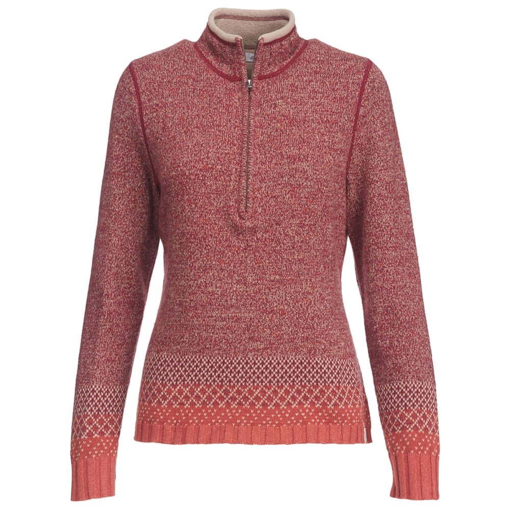 WOOLRICH Women's Tanglewood Half Zip II Sweater - TERRACOTA