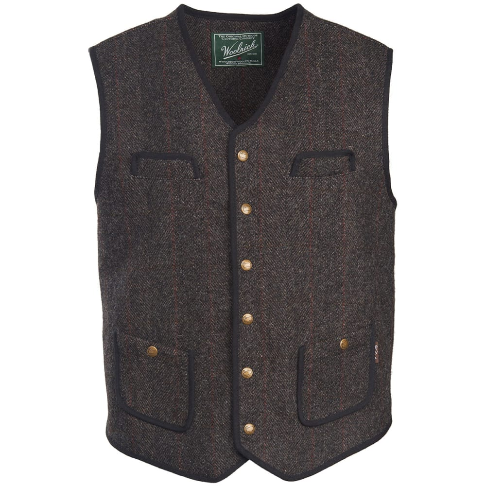 WOOLRICH Men's Utility Vest Snap Front Closure - WOOD HERRINGBONE