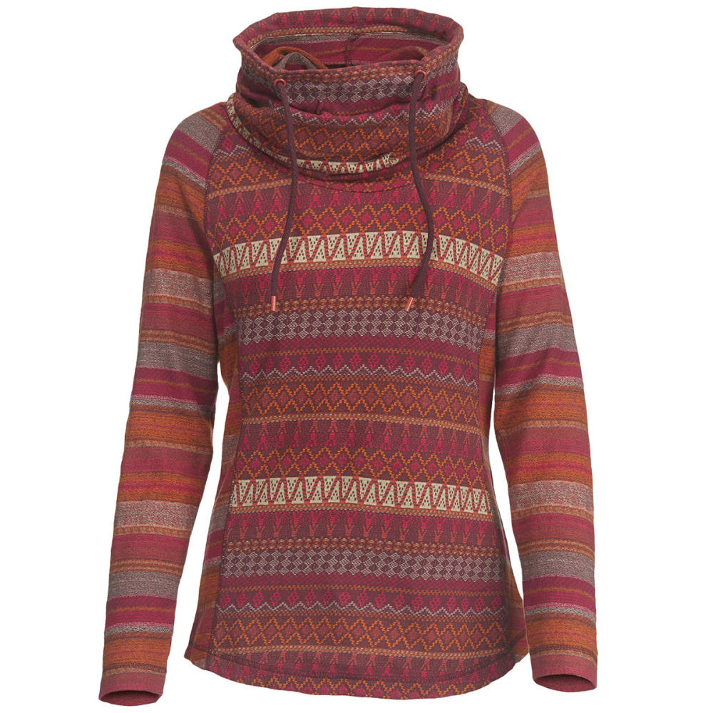 WOOLRICH Women's Mile Run Cowl Neck Hoodie - WINE MULTI