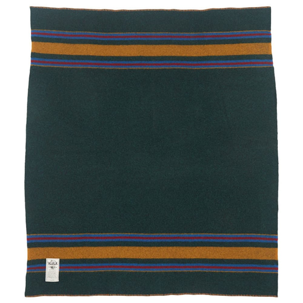 WOOLRICH Camp Wool Blanket - GREEN HEATHER