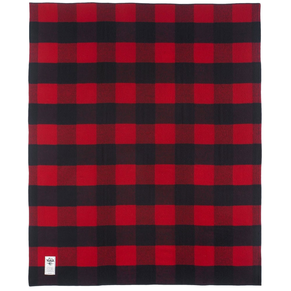 WOOLRICH Seven Springs Wool Blanket - BUFFALO RED AND BLAC