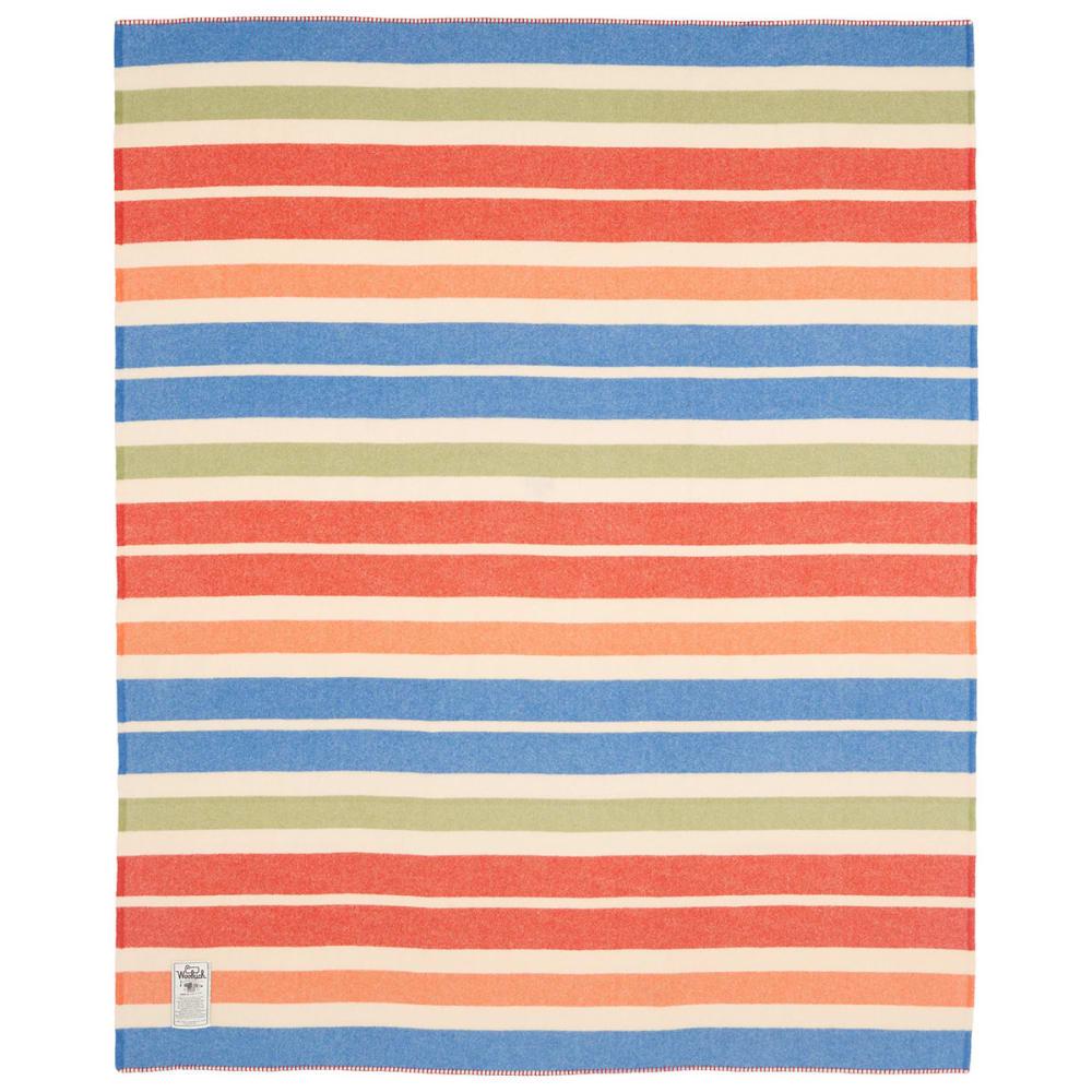 WOOLRICH Walnut Ridge 100% Soft Wool Blanket - MULTI STRIPE