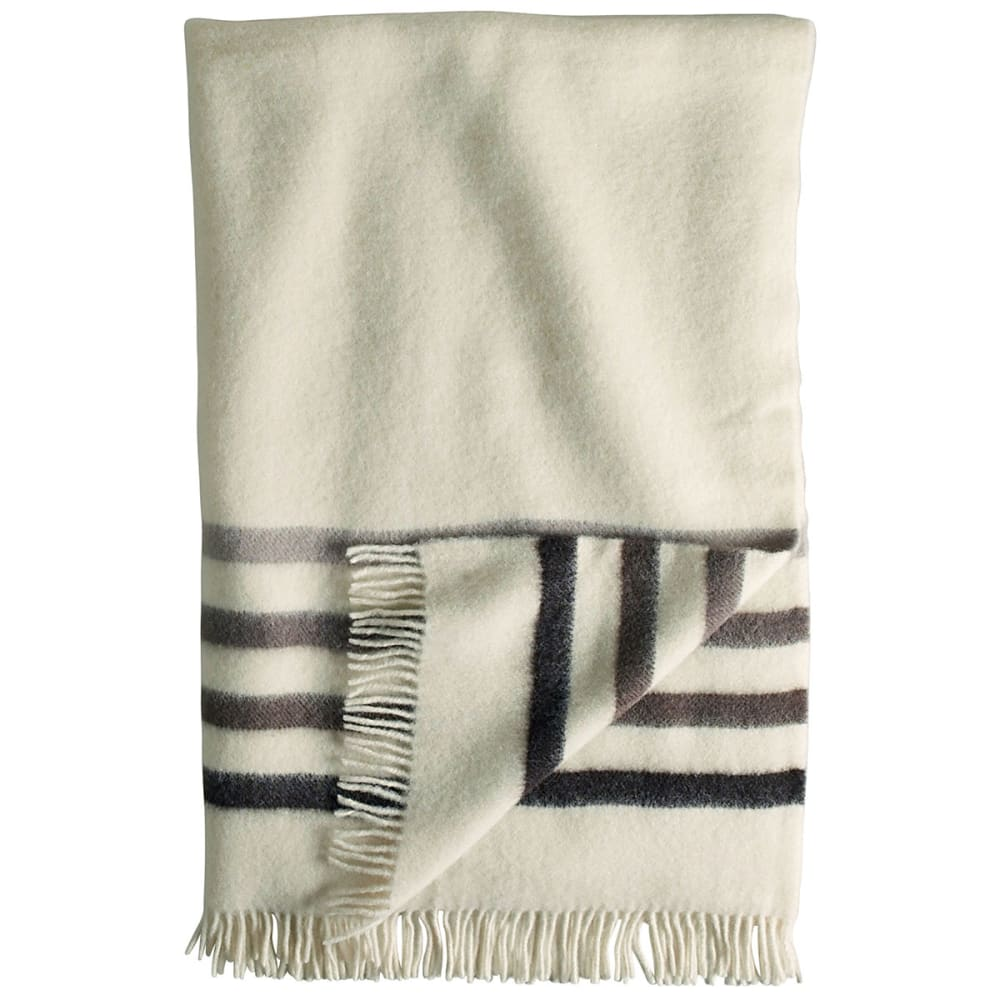 WOOLRICH Hudson's Bay Capote Throw & Pink Stripe Wool Blanket - NATURAL