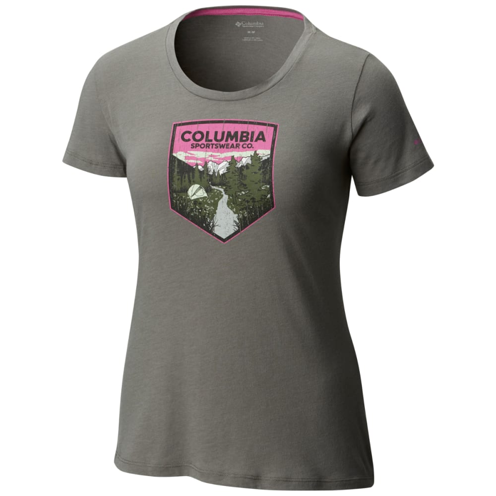 COLUMBIA Women's Columbia Badge Tee - 030-CHARCOAL HTHR