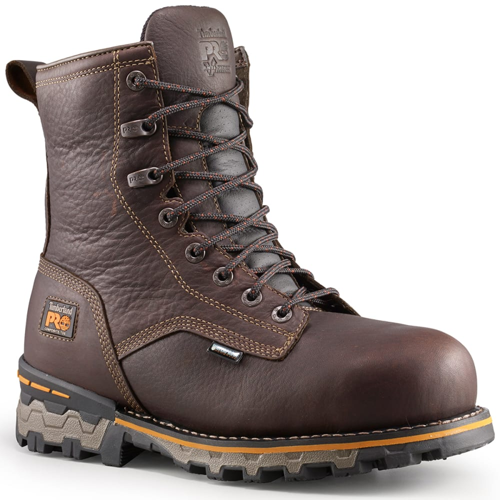 TIMBERLAND PRO Men's 8 in. Boondock Composite Toe Insulated Waterproof Work Boots, Dark Brown - DARK BROWN