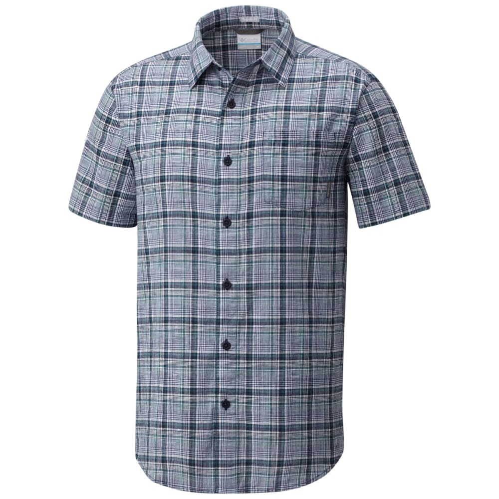 COLUMBIA Men's Under Exposure Yarn-Dye Short Sleeve Shirt - CARBON PLD-469