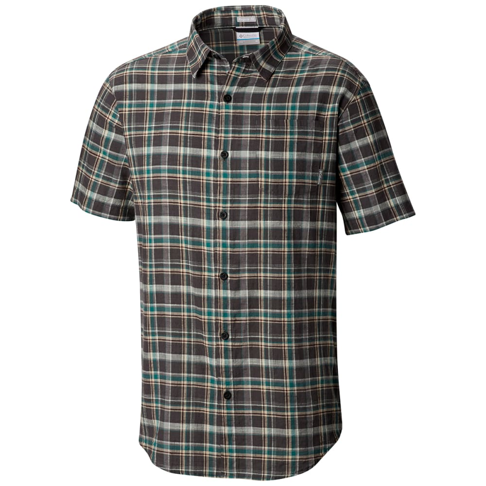 COLUMBIA Men's Under Exposure Yarn-Dye Short Sleeve Shirt - 011 SHARK PLAID