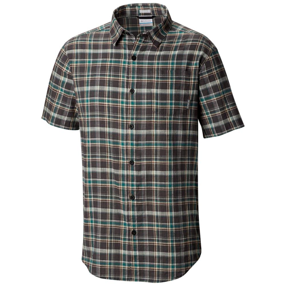 COLUMBIA Men's Under Exposure Yarn-Dye Short Sleeve Shirt - 011 SHARK PLAID